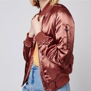 TOPSHOP RED SILKY BOMBER JACKET